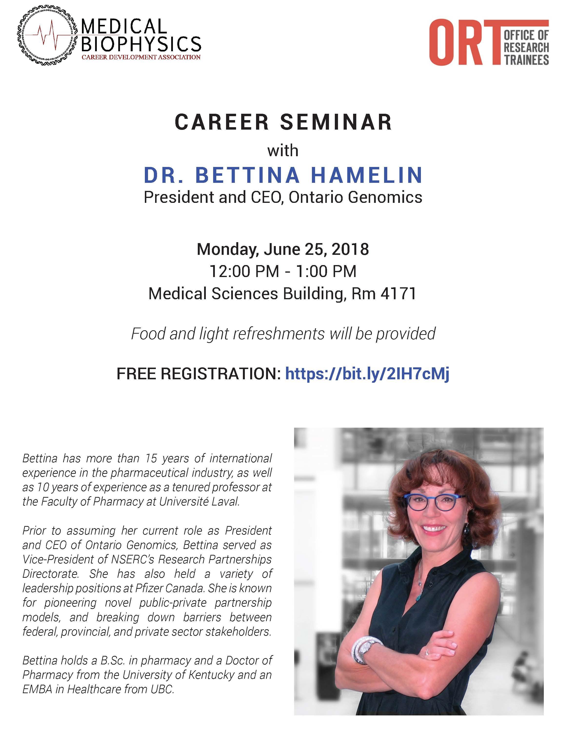 Career Seminar with Dr  Bettina Hamelin (CEO and President