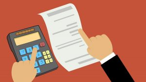 digital illustration of calculator and receipt with hands