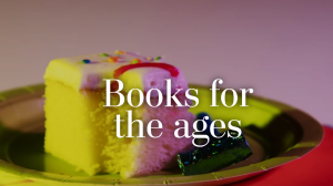 Books for the Ages graphic text with cake background