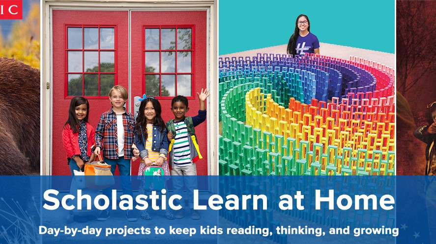 Scholastic Learn at Home graphic with kids