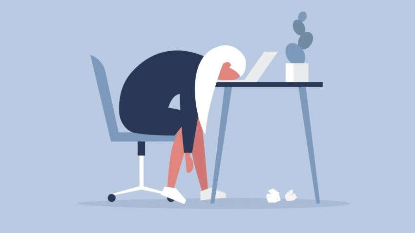 graphic of woman sitting at desk with head on table