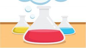 digital illustration of 3 beakers