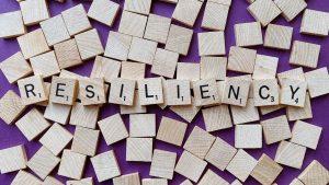 wood scrabble letters spelling resiliency