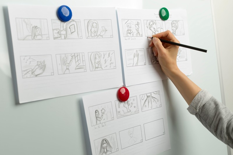 story telling wireframe drawings on wall