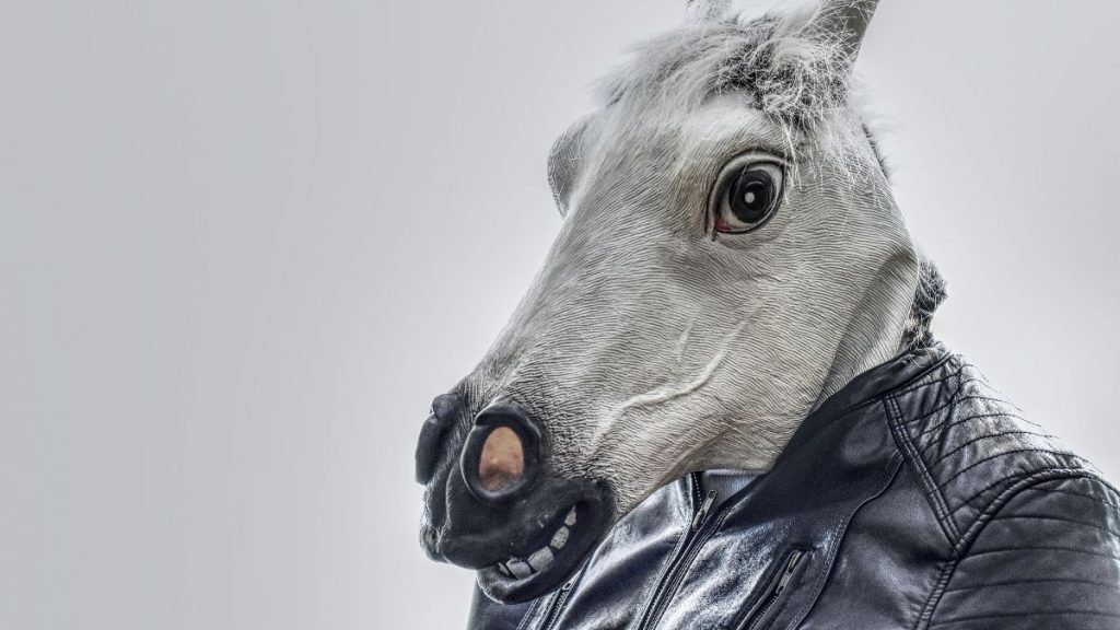 horse face with leather jacket digital drawing