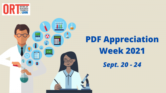Poster for PDF Appreciation Week 2021. September 20-24. The poster is beige with an image of two scientists, one with a microscope writing on a piece of paper and another with different blue bubbles of science objects coming out of the flask.