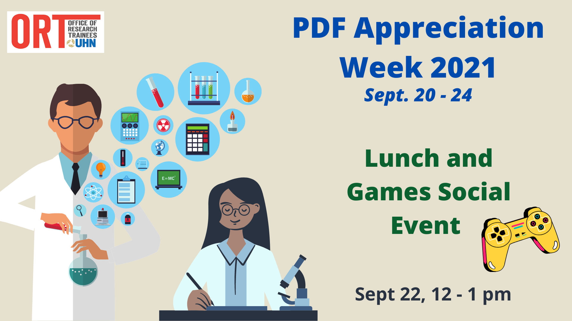 PDF Appreciation Week 2021 Event poster. Lunch and Games Social Event. Sept 23, 12 - 1 pm. An image of a video game console is seen on the right. Two scientists are pictured on the left